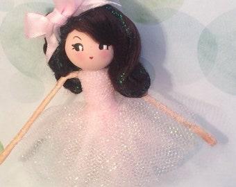 Ballerina doll ornament pink tutu ballet vintage inspired brunette art doll posable doll