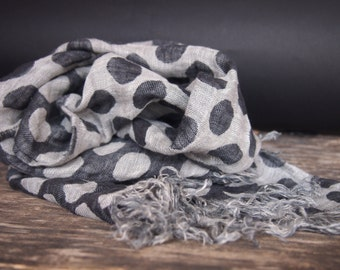 Linen Grey Scarf, Linen Women Accessories, Linen Gift