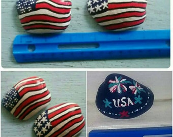 American Flag Fourth of July Hand Painted Shell Decor