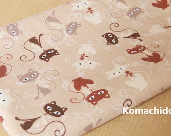 Chic Khaki Light Brown Cotton Fabric with Brown Red White Cat Lady with Bow ,for Dress/Tablecloth/Home Décor ETC –1/2 Yard