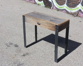 "Mini - Old Barn Wood Desk / Console with Drawer and ""U"" Style legs"