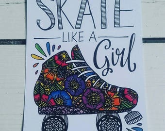 Skate like a girl postcard - A6 Art Print - Roller Derby - Henna Mehndi Art - Watercolour - Feminism
