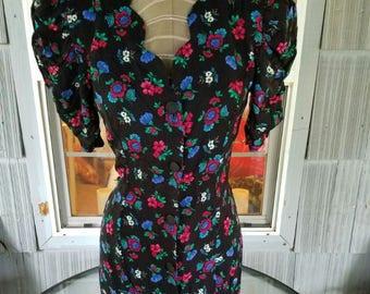 bouton robe New wave des années 80 jusqu'à l'épaule puffy manches femmes court mini du bouton floral imprimé roses sweetheart décolleté kawaii pastel goth 7 8