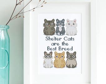 Shelter Cats Cross Stitch Pattern