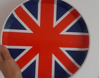 Vintage Tin Tray Round Union Jack Retro Tray from the 1970s London Calling United Kingdom Mid Century Modern