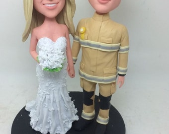 Firefighter Wedding Cake Topper Fireman Wedding Cake Topper Firefighter Topper Fireman Personalized Wedding Cake Figurine Fireman Husband