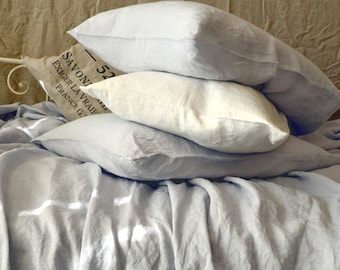 Silver grey stonewashed linen pillow case. Standard and King sizes. Limited edition linen bedding