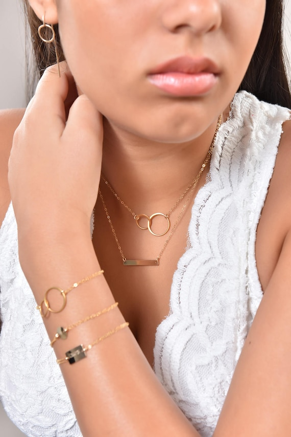 Gold Circle Necklace, Karma Ring Necklace, Double Circle Necklace, Interlocking Circle Necklace, Friendship Necklace, Eternity Love Necklace