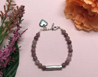 Strawberry Quartz Bracelet with Silver-Plated Tube Focal Bead