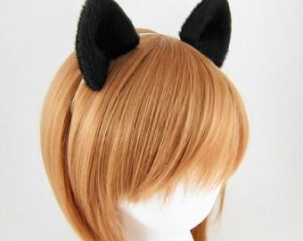 Black Wolf Ears Costume Cosplay Hair Clips Fluffy Plush Wolf Ears