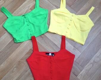 Vintage deadstock fashion 80s 90s bright colour cotton crop top bustier lycra bralet size 8/10