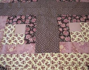 Patchwork Purple Handstitched Vintage Floral Fabric Sewing Supplies Destash