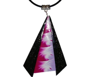 Polymer clay triangle pendant