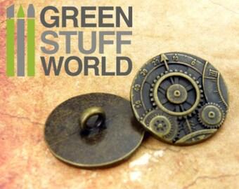 """8x Steampunk Buttons GEARS MECHANISM - Bronze  - 7/8"""" (22mm) - Metal Shank button"""
