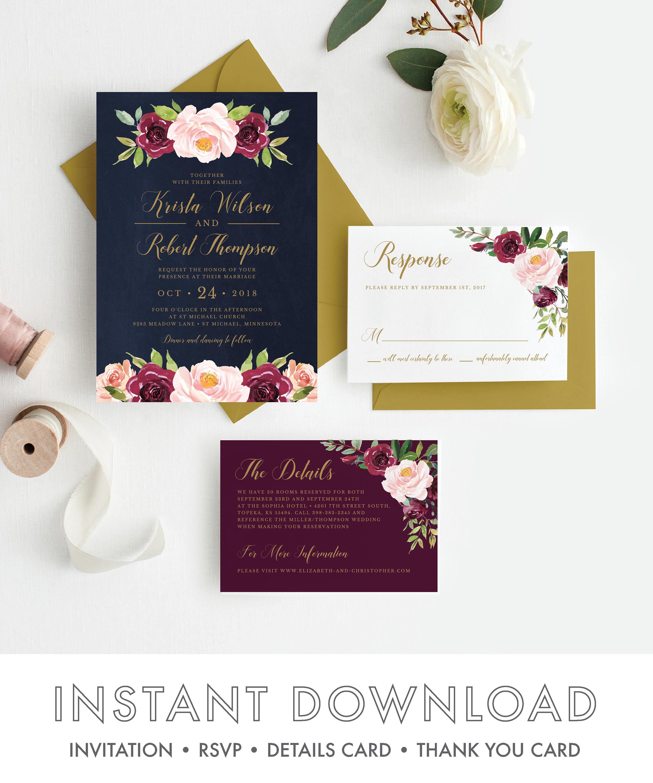 Burgundy and Navy wedding invitations, Marsala wedding invitations ...