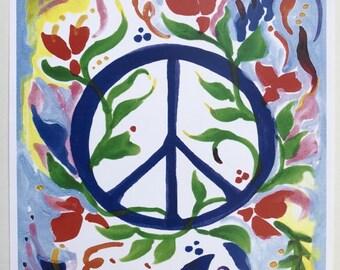 PEACE SIGN Inspirational 11x14 Motivational College Dorm Poster 1970's Hippie Symbol Family Friends Gift Heartful Art by Raphaella Vaisseau