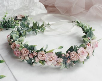 Pale pink crown Blush flower crown Light pink and green floral crown Pale pink Headband Blush pink crown Blush pink headband Festival floral