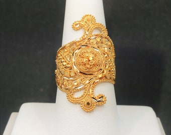 GOLDSHINE 22K Solid Yellow Gold RING Size 8.25/8.5 (US/Canada) Genuine & Hallmarked 916, Stunningly Intricate and Handcrafted