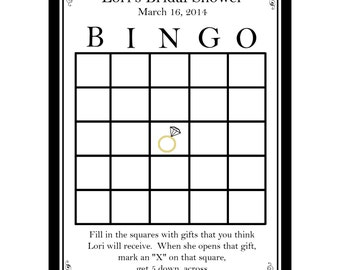 40 Personalized Bridal Shower Bingo  - Classic Black