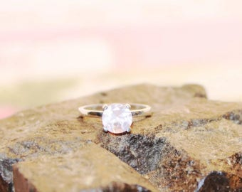 Rose Quartz Ring, Engagement Ring, Sterling Silver Ring With Genuine Rose Quartz Gemstone