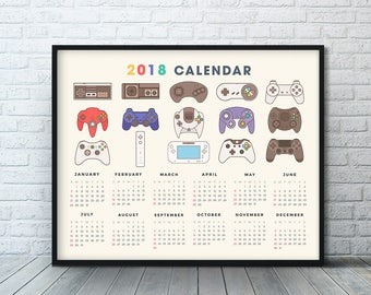 Video Game Calendar 2018, Nintendo Controller, Video Game Poster, Video Game Decor, Game Room Decor, Xbox One Gift, Nintendo Poster, Print