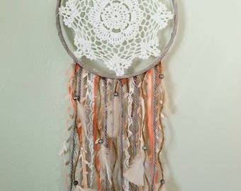 Peach dream catcher, bohemian dream catcher, doily dream catcher, bohemian decor, baby girl nursery decor, baby shower, bohemian nursery