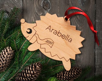 Wood Hedgehog Ornament: Personalized Name, Boy or Girl, Kids Woodland Animal Ornament