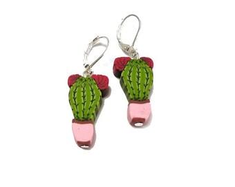 "CACTUS earrings 7/8"" handmade beads, tiny desert Jewelry, Southwestern earrings, gift idea for girl, 925 sterlingSilver, polymer clay cactus"