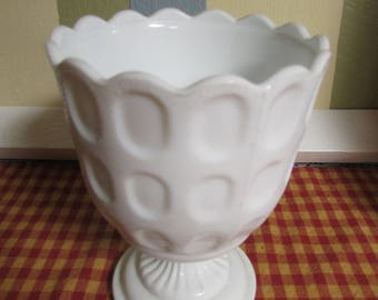 VINTAGE footed milk glass Vase / Mid Century Milk Glass Vase M 4200 Cleveland Ohio / VTG footed milk glass Vase