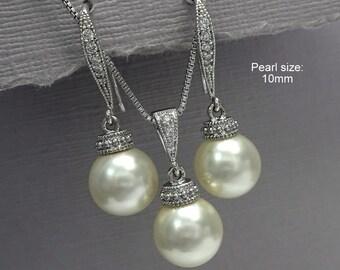 Ivory Pearl Bridal Jewelry Set, Swarovski Pearl Bridesmaid Jewelry, Bridesmaid Gift, Matron of Honor Gift, Maid of Honor Gift, Pearl Jewelry