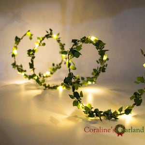 Charming 2M 20 LEDs Leaf Garland Battery Operated Copper Wire LED Fairy String Lights  For Rustic Wedding