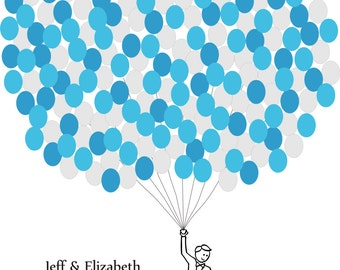 Wedding Guest Book Balloons Print for up to 200 Guests