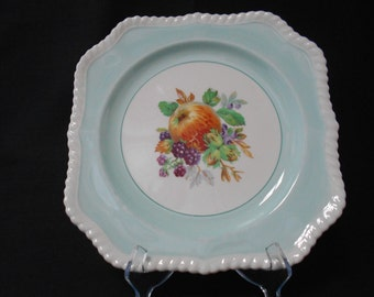 Vintage Johnson Bros of England Square Cake Plate Peppermit Green with Fruit Design 1960's
