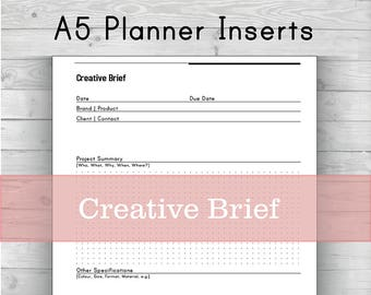 Creative Brief A5 Instant Download Binder Planner