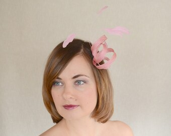 Blush Pink Sinamay and Feather Fascinator - Bridesmaid Fascinator - Minimalist fascinator