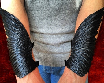 Raven wings - Pair of hand tooled leather winged cuff bracelets / bracers - Black leather wings with silver shading
