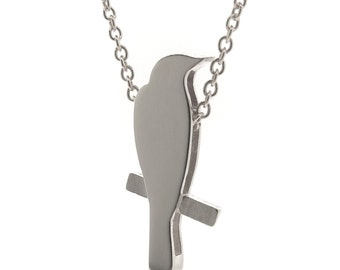 Sterling Silver 'Finch' Necklace, Sterling Silver bird on a branch pendant