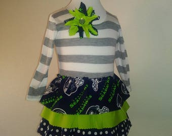 Seattle Seahawks Ruffle Long Sleeve Dress **SHIPS NEXT DAY** 2t 3t 4t 5 6 7 8 10 years old Matching headband and flower hearclip 12th Man