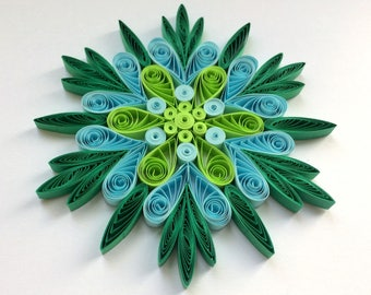 Quilled Snowflakes Paper Quilling Art Christmas Tree Decor Winter Hanging Ornaments Gifts Toppers Mandala Office Corporate Green Blue