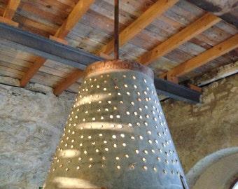 Rustic Metal Olive Bucket Ligthing ,Industrial Lamp,Decorative Ligthing,Rustic Decor Lighting ,Industrial lighting ,Ceiling light