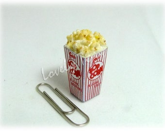 Dollhouse miniature Popcorn in Box best for Fashion Accessory: Miniature food Jewelry
