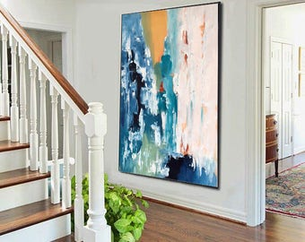 Textured Large Abstract Painting, Acrylic Painting on Canvas. Extra Large Painting - Wall Art, Modern Texture bright Yellow, Blue, White