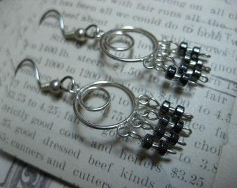 Metal on Metal Industrial Double Circle Sterling Silver Mini Chandelier Earrings w/Hemalyke Rondelles & Hill Tribes Sterling Silver Beads
