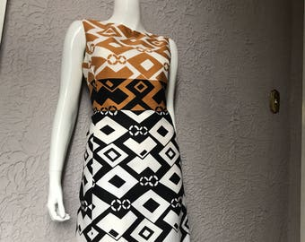 60s Vintage Mod Print Cotton Shift Dress Alex Colman sm/med