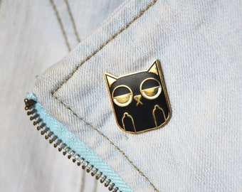 Sass Cat: Black Enamel Pin | cat lovers, cat jewellery, gifts for cat lovers