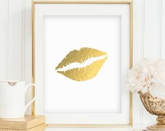 Gold Lips Print Lips Printable Black Decor Wall Print Black and White Stripe Gold Foil Print Gold Decor Makeup Print INSTANT DOWNLOAD 0066