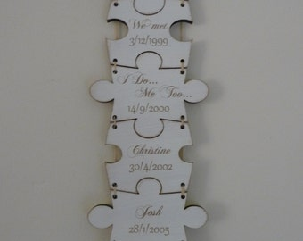 Our Story Sign, Personalised Family Name Sign, Important Dates Sign, Puzzle Sign, Wooden Sign, Jigsaw, Anniversary Gift,