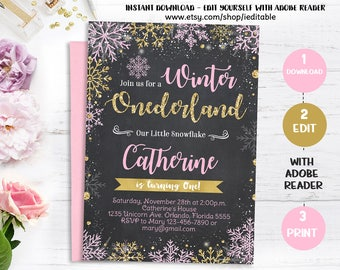 Winter Onederland chalkboard Pink and Gold Birthday Invitation, Snowflake invite, 1st birthday invitations, girls first Instant donwload