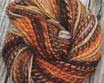 Captain Redbeard Handspun yarn Soft Polwarth Wool Yarn Bulky Weight orange gold rust pale blue green gray Two Ply 2 Ply 100 yards