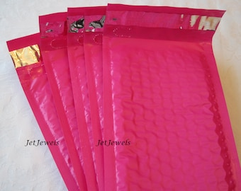 25 Hot Pink Bubble Mailer, Bubble Mailers, Mailing Envelope, Shipping Envelopes, Self Seal Envelopes, Padded Bubble Wrap Mailers 4x8